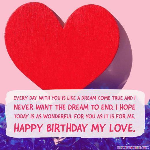 Birthday love message to wife