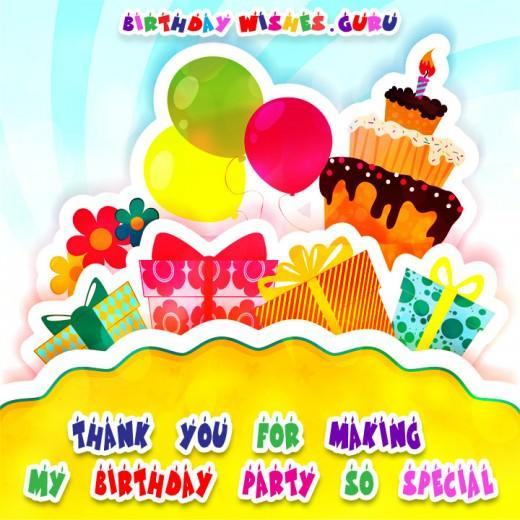 Thank You Notes For Coming To Birthday Party