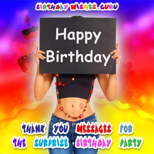 Surprise birthday party thank you note
